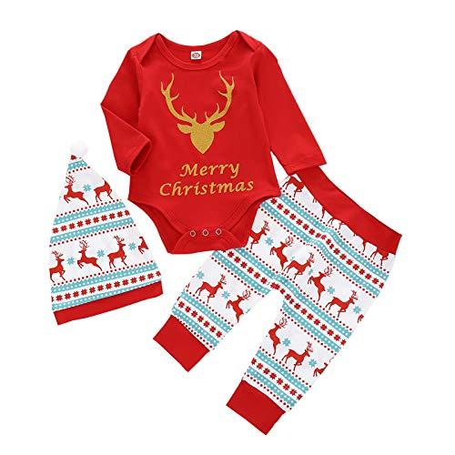 Fulltime Noël Nouveau-né bébé garçon Fille Tops + Pantalons Christmas Home Tenues Pyjamas Ensemble (6-12mois)