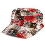 Armycrew Fashion Plaid Frayed Bill Flat Top Cotton Army Cap - Red