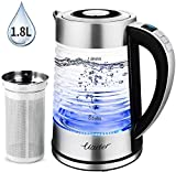 Uarter 1.8L Glas Wasserkocher Elektrischer Wasserkessel Teesieb Einstellbare Temperatur mit automatischer Abschaltung, Warmhaltefunktion und Trockengehschutz, 2000W
