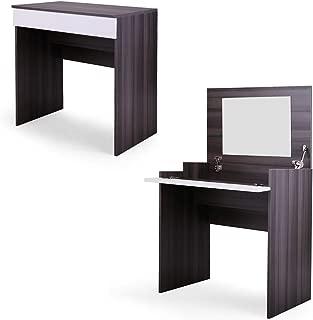 Dressing Vanity Table Chic Makeup Desk with Flip up Mirror Bedroom Dresser Table Jewelry Storage (Ebony)