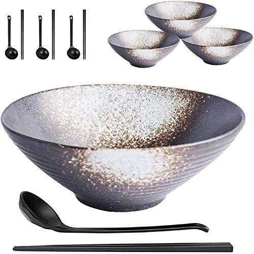 YWYW 4 Juegos de 12 tazones de cerámica japoneses para Sopa de Ramen, tazones de Fideos de 9 Pulgadas y 50 oz con cucharas y Palillos, para Caldo Wonton Pho Udon Soba Noodles