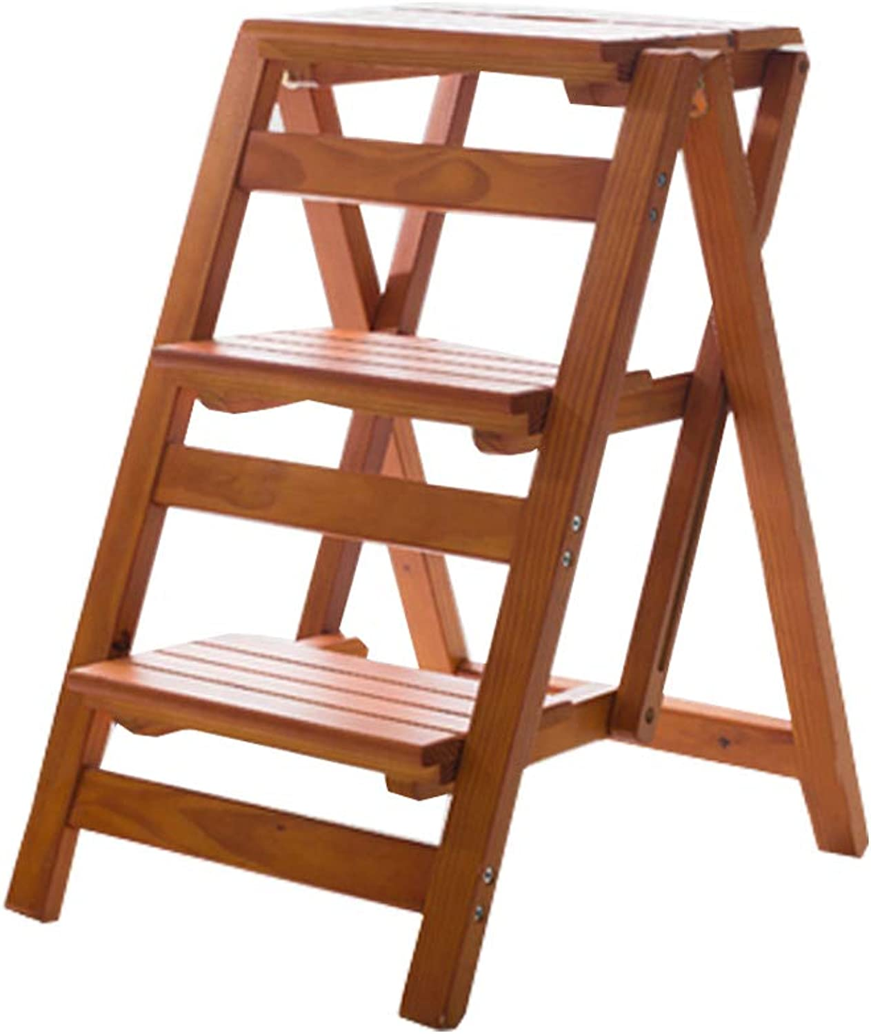 GSHWJS Wooden 3 Step Ladder Chair Stool Multifunctional Folding Shelf Ladder Stool Family Library, 150kg Capacity (Walnut color) Step Stool