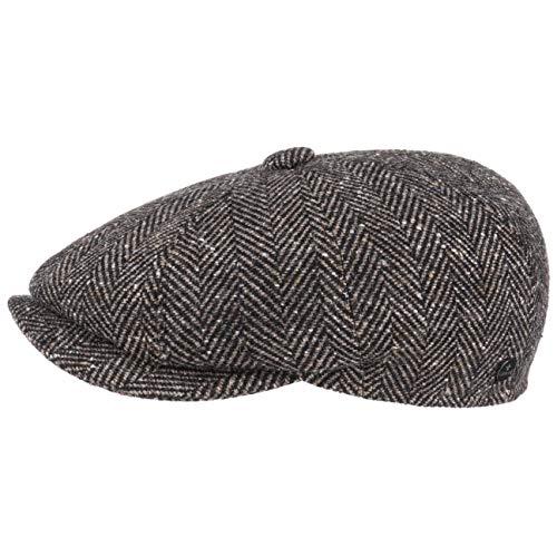 Lierys Fischgrat Flatcap (Schiebermütze) Herren - Hatteras Cap aus Schurwolle (Tweed) mit Fischgräten Muster - Mütze Größen S, M, L, XL Herbst/Winter (S/54-55, Dunkelbeige)