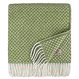 Linen & Cotton Manta Plaid para Sofá/Cama Sofia, 100% Lana Nueva Zelanda - 130 x 170cm (Verde Oliva)