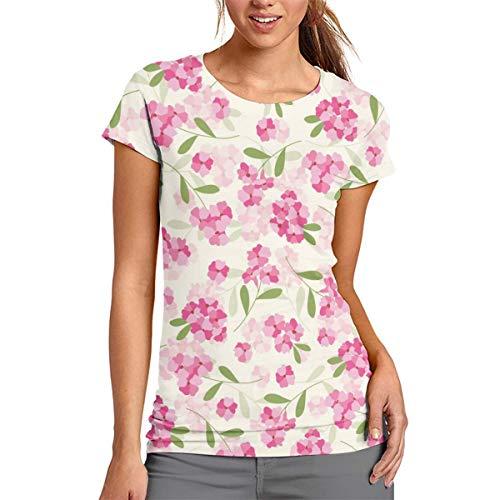 Damen-T-Shirt mit rosafarbenem Blumenmuster, kurze Ärmel, Tunika, Top, Rundhalsausschnitt, Bluse, Polyester, weiß, Large
