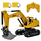 WEECOC RC Excavator Construction Tractor Remote Control Excavator 8 Channel 2.4G Construction Vehicle Digger Electronics Hobby Toys for Kids Boys Child (Yellow)