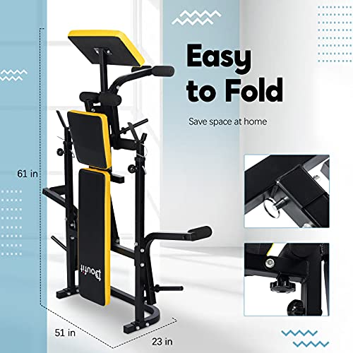 Adjustable Weight Bench with Squat Rack, Doufit WB-04 Foldable Workout Bench with Leg Extension and Preacher Curl for Full-Body Exercise and Strength Training, Weight Lifting Bench Press for Home Gym