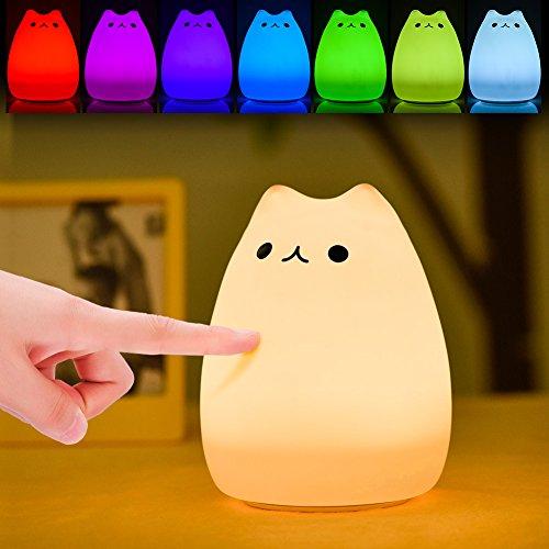 Luz de Noche LED, Haofy Lámpara de Noche para Niños Lámpara de Gato linda Control Grifo Sensible de Silicona Suave Juguete de Descompresión Multicolor para Bebé Regalo de Navidad para Guarderí
