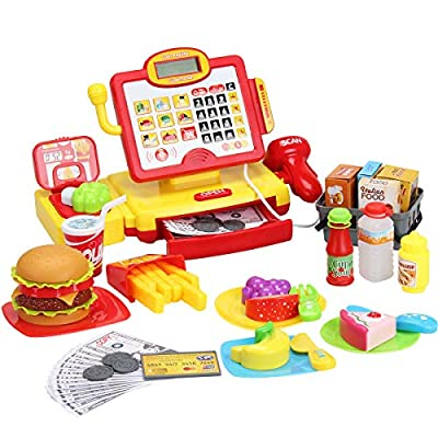 FS Toys Pretend Play Calculator Cash Register with Real Scanner, Microphone, Play Food, Supermarket Cashier, Great Pre-School Gift for Kids, Toddlers, Boys & Girls, Ages 3 4 5 6 7 8 by FIVE STAR TOYS