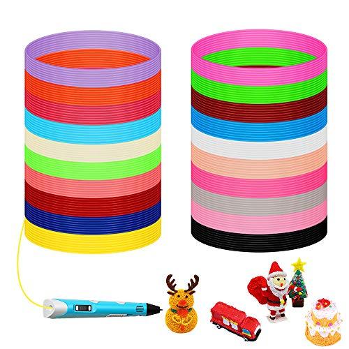 Filamento de 3D Pluma PLA, 20 Colores Bolígrafo 3d Colores 1.75mm 5M Filamento de Pluma de Impresión para Bolígrafo de Impresora 3D