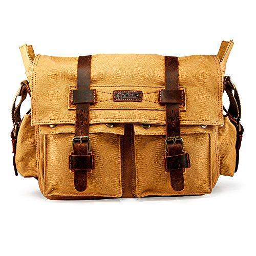 GEARONIC Mens Canvas Leather Messenger Bag for 14' 15' 17' Laptop Vintage Shoulder Crossbody