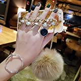 Case for Galaxy S9 Plus,Fluffy Pom-pom Ball Hairy Fur Pearl Diamond Rhinestone Hand Chain Holder Bracelet Sparkle Stars Liquid Glitter Case for Samsung Galaxy S9 Plus (Star Gold)