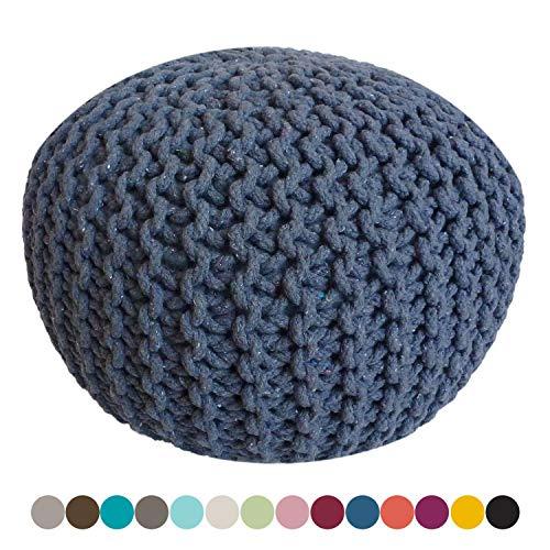 casamia Pouf Ø 55 cm Strickhocker Sitzpouf Sitzpuff Sitzhocker Grobstrick-Optik Bodenkissen extrahoch Höhe 37 cm Farbe blau