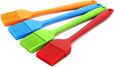 WARMBUY Set of 4 Silicone Pastry Basting Grill Barbecue Brush, Solid Core and Hygienic Solid Coating, Red, Blue, Orange, Green, 8-3/4 Inch Long