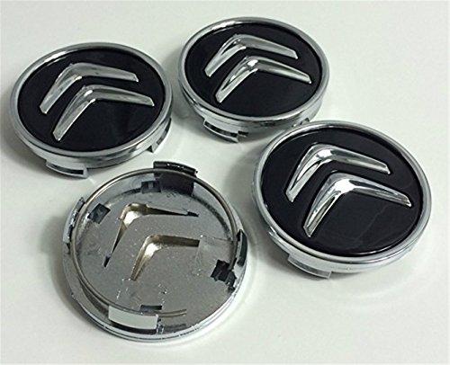 jjeidgfkufdgsfa X4Citroen 60mm Alloy Räder Logo, Hub Cap-C2C4C5C6C-Quatre SCHWARZ/CHROME