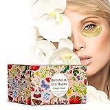 (30 Pairs) Botanical 24K Gold Eye Masks | 24 Karat Gold, Green Tea, Butcher's Broom, Hyaluronic Acid, Collagen | Anti-Aging & Moisturizing; Reduces Dark Circles, Undereye Puffiness, Wrinkles