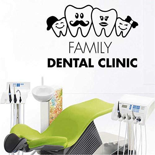 Muursticker tandkliniek aanbieding kunst muursticker vinyl decor tandverzorging familie tanden decor tanden behang afneembaar 57x38cm