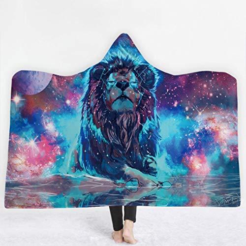Soft Hoodie Blanket Adult Men Women, Three Dimensional Thicken Wearable Hooded Animal Blankets, Mystical Wolf Pattern, Soft Cozy Fleece Blanket (Pattern 3,150x130cm)