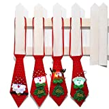 4PCS Christmas LED Light Up Tie for Kid Boy Adult (Red)