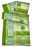 Carpe Sonno Bügelfreie Seersucker Bettwäsche 135 x 200 cm - Leichte Baumwoll Bettbezüge mit schönem Muster für den Sommer - Modern gemusterte Bettwaren-Garnitur - Grün