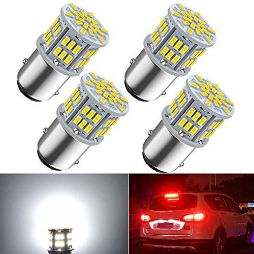1157 Led car bulb Brake light, 1157 7528 2357 2057 BAY15D LED Replacement Light Bulb for Brake Tail Running Parking Backup Light for Car Vehicle RV Trailer Boat, 54SMD 3014 Chipset White light, 4PCS
