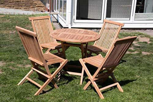 Mediablue Gartentisch rund 80cm aus Teakholz mit 4 Stühlen (Tisch mit 4 Stühlen)