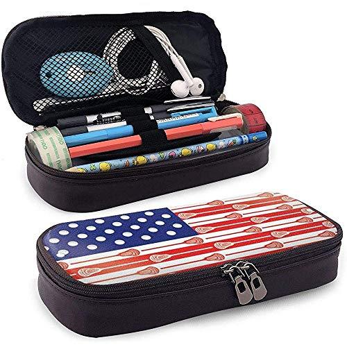 Pu-Leder Federmäppchen - Multifunktionale Bleistiftbeutel Schreibwaren Stift Veranstalter (amerikanische Usa Lacrosse Sticks Flagge)