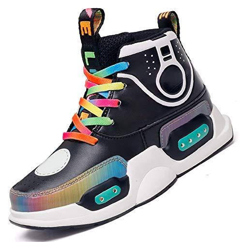 DAYATA Wielokolorowe wysokie buty LED dla dzieci chłopców dziewcząt moda dziecięca świecące trampki, - Czarny - 29 EU