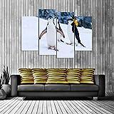 KOPASD Art Impresión Lienzo,Tamaño Grande, Sonrisa de pingüino -160x100cm Diseño Profesiona/4pcs(Sin Marco)