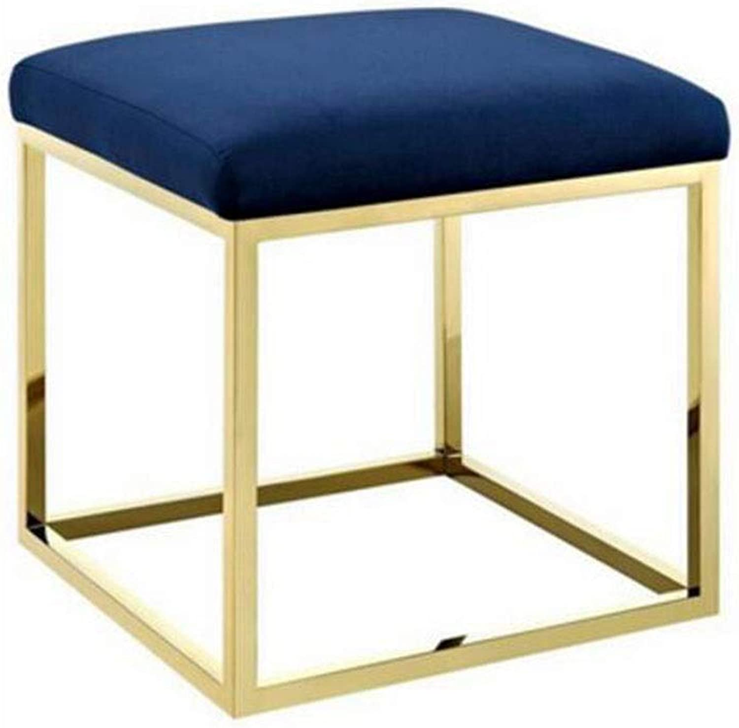ECSD Contemporary Stainless Steel Vanity Stool Small Square Stool Change shoes Bench Living Room Single Sofa Bench (color   Dark bluee)