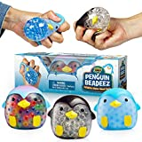 YoYa Toys Beadeez Penguin Stress Relief Balls (Set of 3) - Anxiety Relief Squeezing Squishy Balls for Kids and Adults - Funny Fidget Sensory Toy Filled with Water Beads - ADHD Hand Finger Exerciser