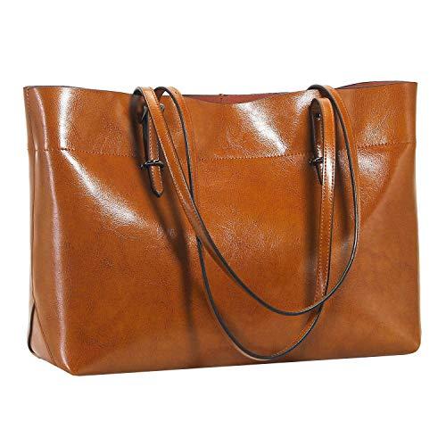 Cobeky Bolso de mano de cuero para mujer, de gran capacidad, color negro, casual, bolso de hombro de moda, cartera marrón oscuro, color, talla Talla Unica
