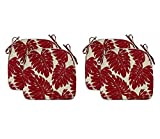 Fabritones Outdoor Chair Cushions Set of 4 Red Patio Seat Cushions with Ties 16x17 Inch Leaves Pattern U-Shape Chair Pads for Outdoor Patio Furniture Garden Home Office Use