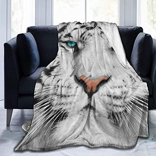 Decke Albino Tiger Flanell Fleece Überwurfdecken für Baby Kinder Männer Frauen, weiche warme Decken Queen Size und Überwürfe für Couch Bed Travel Sofa
