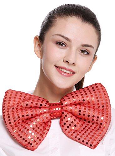 Dress Me Up - BB-041-red XXL Fliege Bowtie Binder riesig rot Pailletten Clown Zirkus Karneval Show
