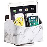 White Marble Leather Remote Control Holder,360 Degree Spinning Desk TV Remote Caddy/Box,Be...