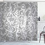 Ambesonne Grey Shower Curtain, Victorian Style Large Leaf Floral Pattern Swirl Classic Abstract French Vintage Print, Cloth Fabric Bathroom Decor Set with Hooks, 70' Long, Gray