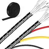 MOSOTECH 2 Pack Organizador Cables, 5.1M Espiral Cubre Cables Universal con 3.1M DIY Negro Bridas Cortable, Antienvejecimiento Recoge Cables para Escritorio, PC Escritorio, Oficina, Hogar-Negro