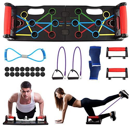 Migaven Push up Rack Board, Tabla Flexiones, 9 en 1 Flexiones Plegable y Multifuncional Equipo de Fitness, Gym en Casa para Entrenamientos