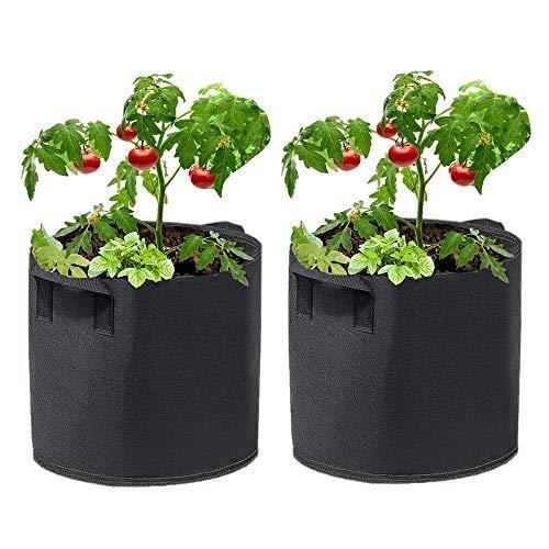qipuneky 26.5 litres/7 Gallonen, 2 Stück - Pflanzbeutel, Pflanzsack, Felt Grow Bags - Biodegradable pots, für Tomaten, Kartoffeln, Blumen, Pflanzen und Mehr, mit Stabilem Riemengriff