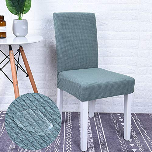Monba - Funda protectora impermeable para silla de comedor, elástica, extraíble, lavable, para silla de comedor., poliéster, verde claro, Pack de 4