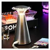 Lámpara de mesa Touch Sensor LED recargable bar Lámpara de mesa creativa noche de la seta luz Hotel Restaurant Café regulable luz de la tabla (Lampshade Color : Sliver Power Bank)
