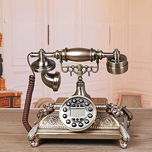 JDJFDKSFH Teléfono Retro Europeo, dial de botón de Metal Redondo, Grabado Tridimensional de Resina de Resina, Bienvenida