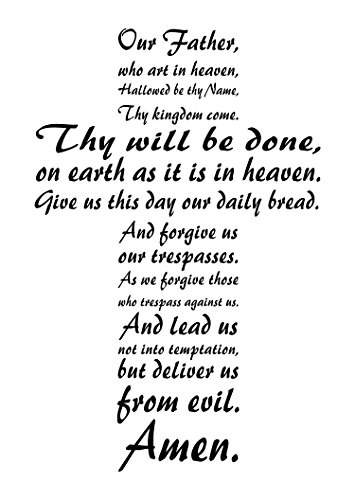 The Lord's Prayer Wall Art is an Inspirational Christian Vinyl Wall Decal Displaying The Our Father in The Form of a Cross, English Version.