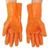 1 par de guantes de pelador mágicos para frutas y verduras, herramientas de procesamiento de patatas de PVC, herramientas de cocina Tamaño libre naranja