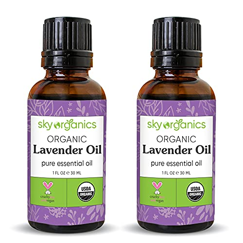 Lavender Essential Oil by Sky Organics (1 oz x 2 Pack) 100% Pure Steam-Distilled Lavender Essential Oil Natural Lavender Oil for Aromatherapy Diffuser Massage Candles and DIY