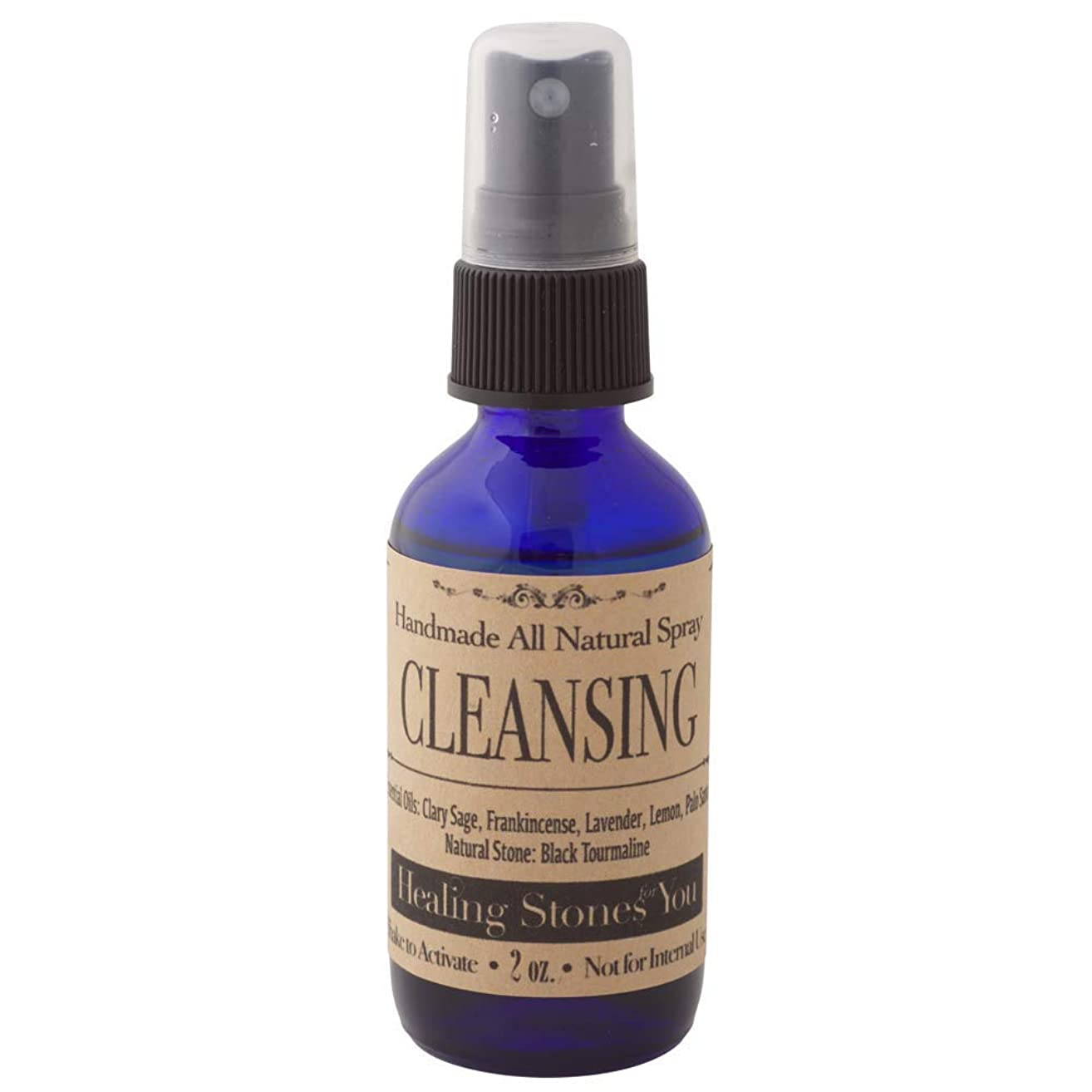 Crystal Infused Sage Smudge Essential Oil Spray with Black Tourmaline