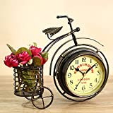 AHNUNVA Reloj de mesa vintage, reloj de mesa vintage de metal para bicicletas con pequeña estantería silenciosa sin tic-tac antiguas alarmas para dormitorio, oficina o decoración