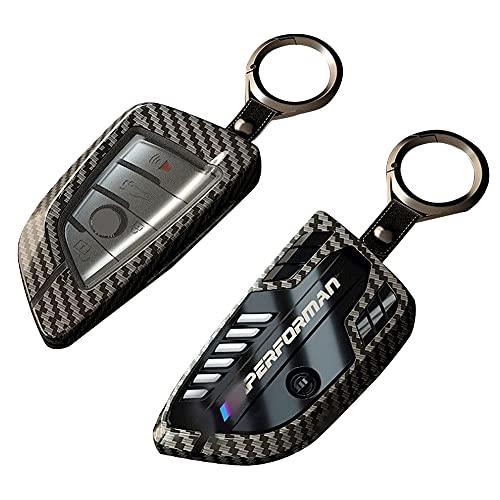 MeetCloud Autoschlüssel Hülle für BMW, Kompatibel mit BMW Keyless Serie 1 3 5 7 X1 X3 X4 X5 X6 F30 E30 Zinklegierung Schutzhülle Cover aus Kohlefaser, Mit Schlüssel Einhaken