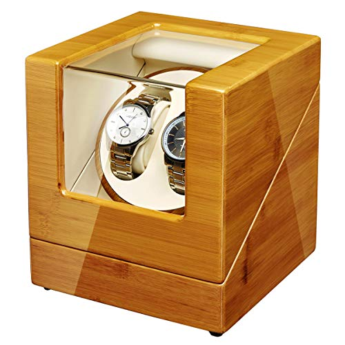 JQUEEN Watch Winder Box for Automatic Watches with Quiet Japanese Mabuchi Motor, Bamboo Wood Watch Box (2-Bamboo)